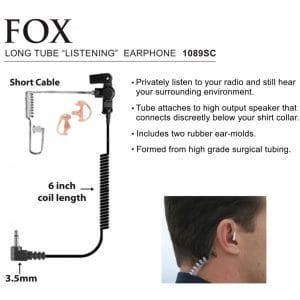1089SC Fox Surveillance Ear Phone – Short Cord Listen Only Device