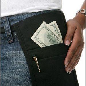 F3151 Money Pouch w/ Waist Tie – Black