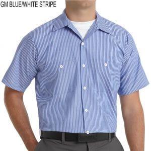 SP20 Mens Industrial Workshirt GM Blue w/ White Stripes